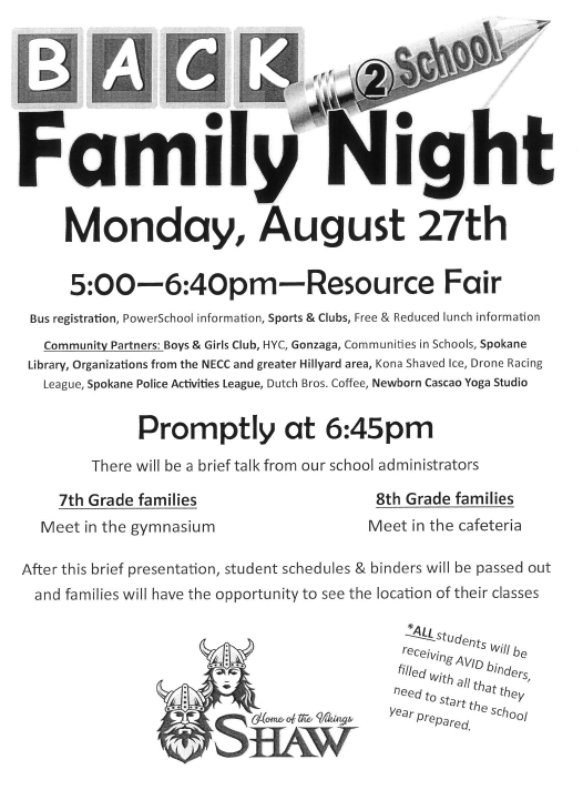 Back 2 School Family Night